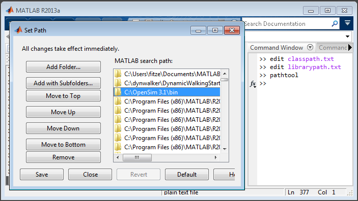 Scripting with Matlab - OpenSim 3 3 Documentation -